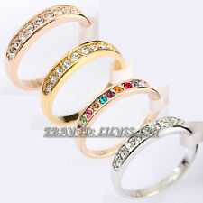 A1-R111 Fashion 4mm Wedding Band Ring 18KGP use Swarovski Crystal Size 5.5-10
