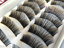 BOX of 10 QUALITY FALSE FAKE NATURAL THICK BLACK EYE LASHES MAKE UP FREE UK POST