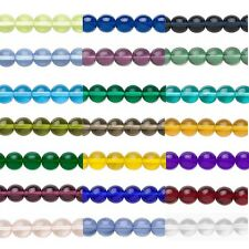 16 inch Strand Round Czech Glass Druk Beads In Many Transparent Colors & Sizes