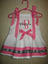 Girl's White Zebra Hot Pink Valentines Easter Dress Personalized Ship Free