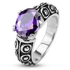 Stainless Steel Faceted Violet Oval Gem of the Sea Cast Wedding Band Ring R267