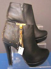 Spot On Black Ankle Boots High Heel Studded / Zip Detail In Gold Colour - F50038
