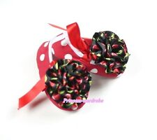 Infant Baby Toddler Girl Hot Red White Dot  Shoe Ribbon Black Cherry Rose 0-18M