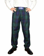 DONNELLIS Scottish Gents Casual / Golf Trousers Pants BLACK WATCH Tartan NEW