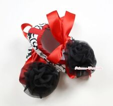 Infant Baby Toddler Girl Hot Red Damask Print Shoe Ribbon with Black Rose 0-18M