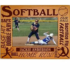 Personalized Softball Picture Frames 4x6 5x7 8x10 Team Photo Laser Engraved Wood