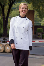 Rialto chef coat, white w/ black trim, sizes from XS to 6XL, 0448C