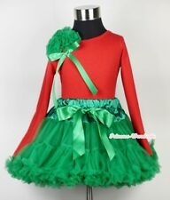 Xmas Kelly Green Pettiskirt Long Sleeve Red Pettitop Top Bunch Rose & Bow 1-8Y