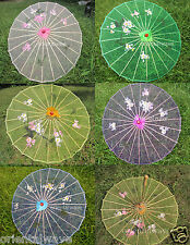 Kids Multicolor Transparent Parasol Chinese/ Japanese Oriental Umbrella  30""
