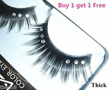 Long Sparkly False Fake Strip Eyelashes with Clear Crystal (Buy 1 get 1 Free)