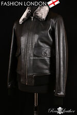 'BOSTON' Men's Black Fur Collar Aviator Bomber Real Nappa Leather Jacket