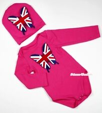 Xmas Baby Pink Long Sleeve Jumpsuit Romper British Butterfly Warm hat 2PC NB-12M