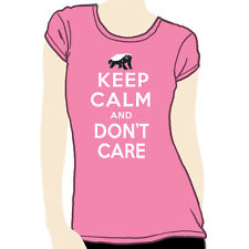 Women's Honey Badger Keep Calm and Don't Care funny t-shirt GENUINE NWT pink