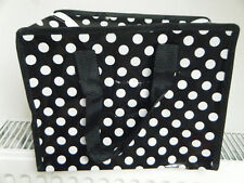 ECO FRIENDLY BLACK & WHITE SPOTTED POLKA DOT LUNCH SHOPPING TRAVEL BAG FREE POST