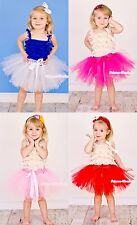Solid Petti Ballet Knotted Dance Tutu Tulle Skirt Baby Girl Kids Petticoat NB-4Y