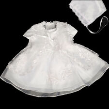 3 pcs Lace Baptism Christening Dress Cape Bonnet Baby Girl Size 0-12 month FG092