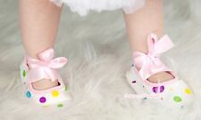 Infant Baby Toddler Girl Light Pink Rainbow Crib Flat Shoe With Ribbon 0-18Month