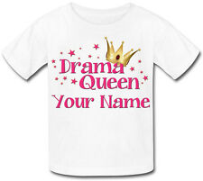 DRAMA QUEEN PERSONALISED GIRLS T-SHIRT - IDEAL GIFT FOR ANY CHILD & NAMED TOO