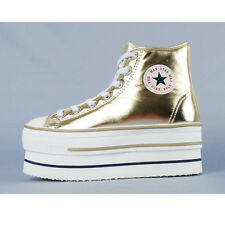 Womens Platform Gold Shiny High Top Sneakers Trainers Shoes GOLD (WS 101)