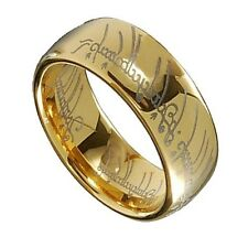 Gold Plated Tungsten Carbide LOTR One Ring Width 8mm Millimeter Band Ring