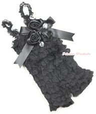 Baby Girls Black Lace Rose Petti Posh Romper Rosettes Crystal Rompers NB-3Year