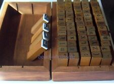 A set 70pcs Number/Alphabet Letter Wood handle Rubber Stamp with Wooden Box