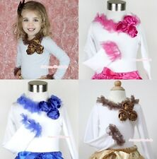 WHITE Long Sleeve Pettitop Top Shirt With Ruffle Lacing & Bunch Satin Rose 1-8Y