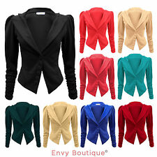 NEW LADIES LONG RUCHED SLEEVE BUTTON BLAZER JACKET WOMENS COAT TOP SIZE 8-14