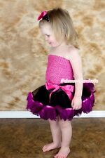 Baby Black Hot Pink Peacock Feather Pettiskirt Hot Pink Crochet Tube Top NB-3Y