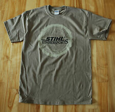 Official STIHL apparel Tan Timbersports T-shirt w/ Sawn Log Imprint on Front
