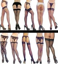 Ladies Stockings or Hold ups Fishnet Fencenet Sheer or Lace Design One Size NEW