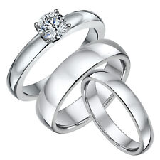 Titanium Engagement Ring & His & Hers 4&6mm Court Shaped Wedding Bands