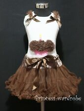 Brown Pettiskirt Skirt Tutu Dress White Pettitop Top Brown Cupcake Set 1-8Year
