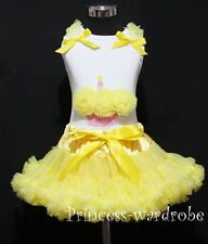 Yellow Pettiskirt Tutu Dress White Tank Top Yellow Birthday Cupcake Set 1-8Year