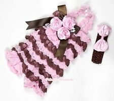 Baby Girls Light Pink Brown Lace Pink Rose Crystal Romper & Headband Bow NB-3Y