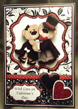 Handmade Greeting Card - Dancing Bears Valentine or Anniversary 3D Card