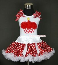 White Minnie Red White Dot Pettiskirt Red Birthday Cupcake White Top Set 1-8Year