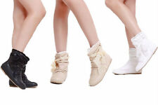 NEW Style Cute Women's Ankle Boots Flat Heel Lace Bowknot Shoes AU All Size Y611