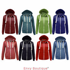 NEW LADIES WOMENS PLAIN HOODIE HOODED ZIP TOP SWEATSHIRT JACKET COAT SIZE 8-14