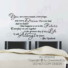 I Will Always Be Yours ~ The Notebook Love Life Wall Quote Vinyl Sticker Decals
