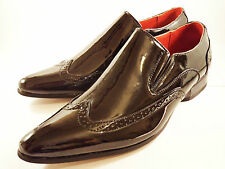 Mens New Oxford Brogue Pointed Toe Slip On Formal Black Shoe Size 6 7 8 9 10 11