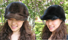 women's fashion real  mink fur handmade  cap /hat black and brown