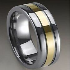 Tungsten Carbide Gold Plated Center Pipe Ring 8mm Wedding Band R362