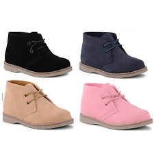 Boys Girls Kids Juniors Babies Lace Up Ankle Boots Booties Shoes Size UK 4-3