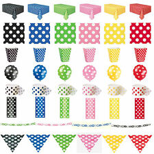Polka Dots Party Tableware Birthday Decorations Black Pink Blue Green Yellow