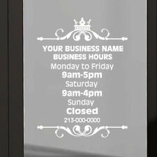 "9""X12"" CUSTOM BUSINESS HOURS sign for shop window_vinyl sticker decal"