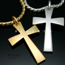 Simple Cross Pendant Chain Necklace 18k Gold & Silver Plated Mens Biker Jewelry