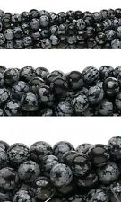 Lot of 10, 16 inch Strands of Round Snowflake Obsidian Natural Gemstone Beads