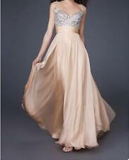 Beaded Top CHIFFON BRIDESMAID DRESS PROM/BALL/WEDDING Dress SIZE 6,8,10,12,14,16