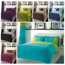 3 Colour Panel Duvet Quilt Cover Sets & Pillowcases Bedding Bed Linen Polycotton